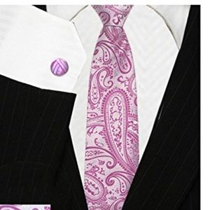 Brand New 100% Silk Men's Dress Hot Pink Paisley